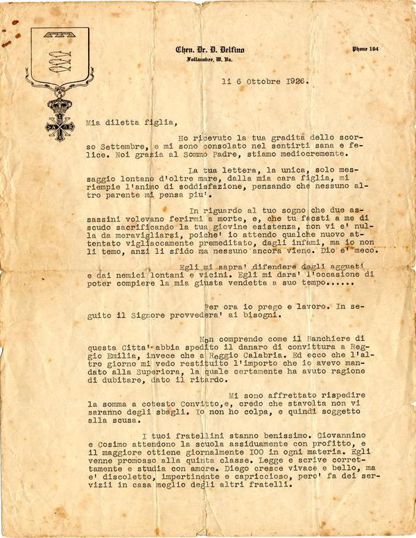 a42595cc6a Diego Delfino — Letter to his Daughter, 1926/10/06 – Immigration ...